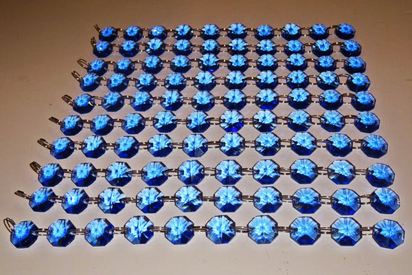 14mm Octagon Cobalt Blue Chandelier Drops Cut Glass Crystals Garlands Beads Droplets