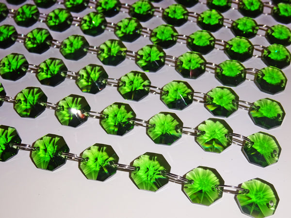 Emerald Green 14mm Octagon Chandelier Drops Cut Glass Crystals Garlands Beads Droplets Parts