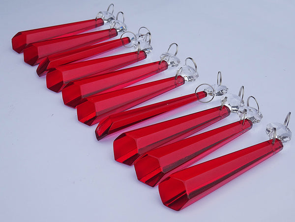 20 Red Chandelier Drops Beads Droplets Cut Glass Crystals Prisms Lamp Light Parts 4
