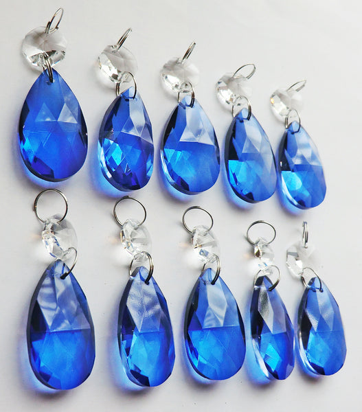 "Blue Cut Glass Oval 37 mm 1.5"" Chandelier Crystals Drops Beads Droplets Light Lamp Parts 16"