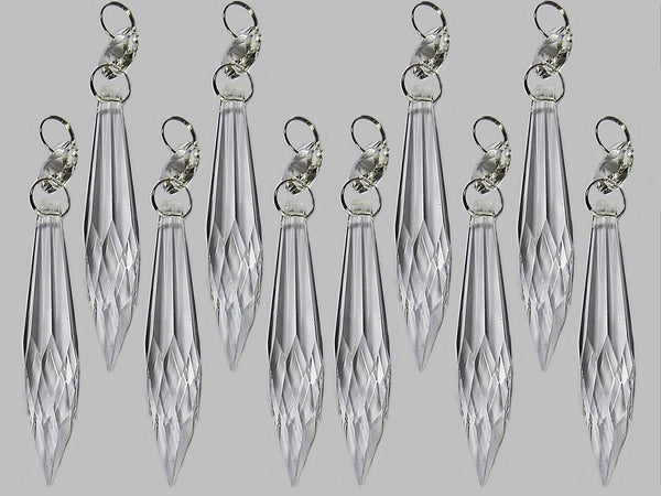 "Clear 3"" Pointed Icicles Chandelier Crystals Cut Glass Drops Beads Prisms Droplets"