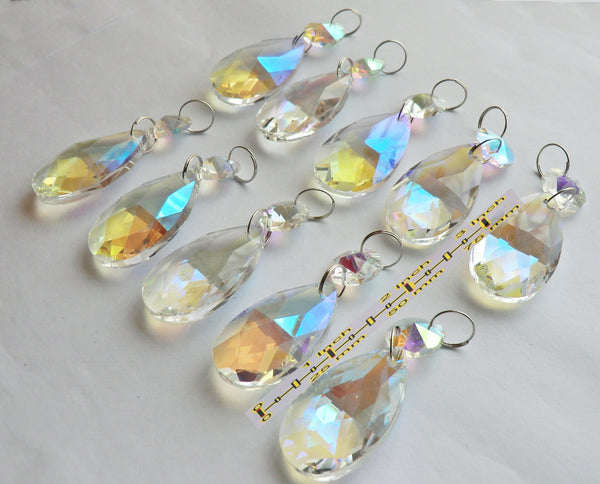 "Aurora Borealis 37 mm 1.5"" Oval Chandelier Cut Glass Crystals Drops Beads Charms AB Droplets 9"