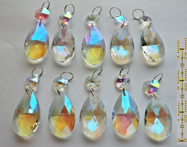 "Aurora Borealis 37 mm 1.5"" Oval Chandelier Cut Glass Crystals Drops Beads Charms AB Droplets 10"