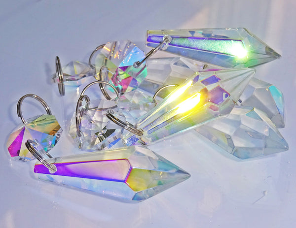 "Aurora Borealis 37 mm 1.5"" Torpedo Chandelier Glass Crystals Drops Beads AB Droplets Light Parts 11"