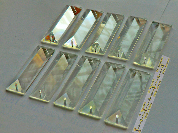 Clear Cut Glass Oblong 62 mm x 20 mm Coffin Chandelier Crystals Drops Beads Transparent Droplets 6
