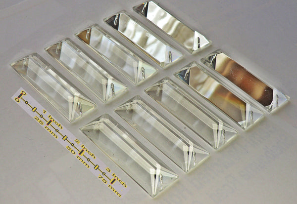 Clear Cut Glass Oblong 62 mm x 20 mm Coffin Chandelier Crystals Drops Beads Transparent Droplets 8