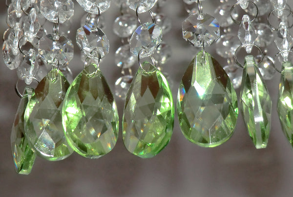 "12 Sage Green Oval 37 mm 1.5"" Chandelier Crystals Drops Beads Droplets Christmas Wedding Decorations 4"