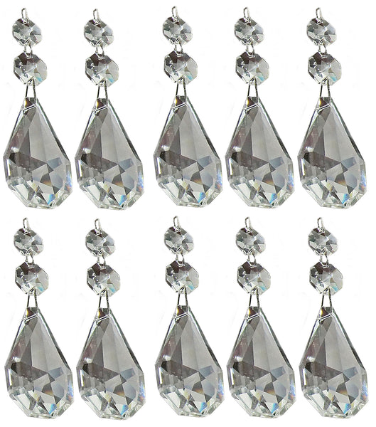 "Clear XL Square Oval 62 mm / 2.5"" Chandelier Crystals Cut Glass Drops Facet Prisms Chain Droplets 3"
