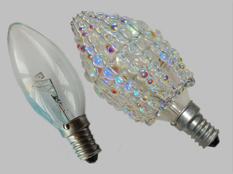Chandelier Bead Candle Size Light Bulb Aurora Borealis AB Glass Cover Sleeve Lampshade Alternative Beaded