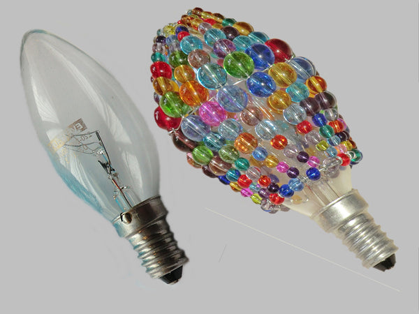Chandelier Bead Candle Light Bulb Multi Colour Rainbow Glass Cover Sleeve Lampshade Alternative Beaded 1