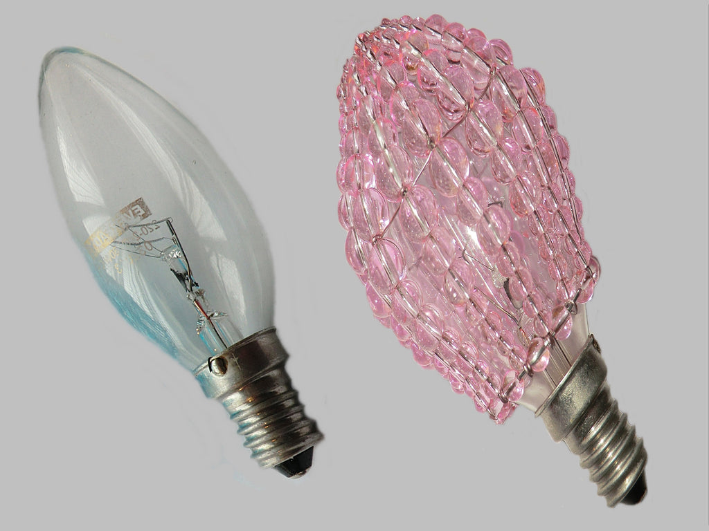 Chandelier Bead Candle Light Bulb Pink Glass Cover Sleeve Lampshade Alternative Beaded