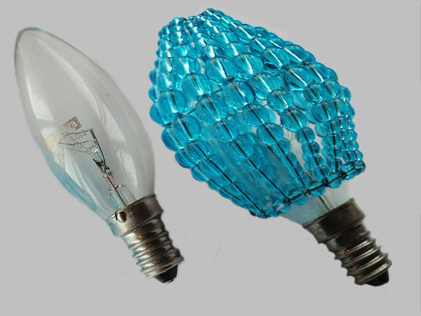 Chandelier Bead Light Candle Bulb Turquoise Teal Glass Cover Sleeve Lampshade Alternative Beaded