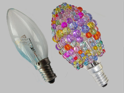 Chandelier Bead Candle Light Bulb Multi Colour Pastel Glass Cover Sleeve Lampshade Alternative Beaded 1