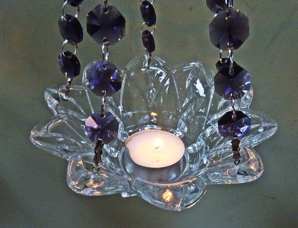 Purple Glass Chandelier Tea Light Candle Holder Wedding Event or Garden Feature 10