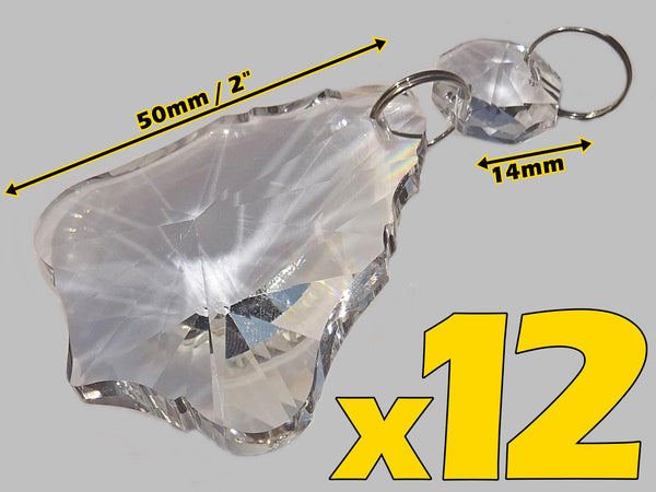 "12 Clear 50mm 2"" Bell Chandelier Glass Crystals Beads Droplets Garden Window Decorations 2"