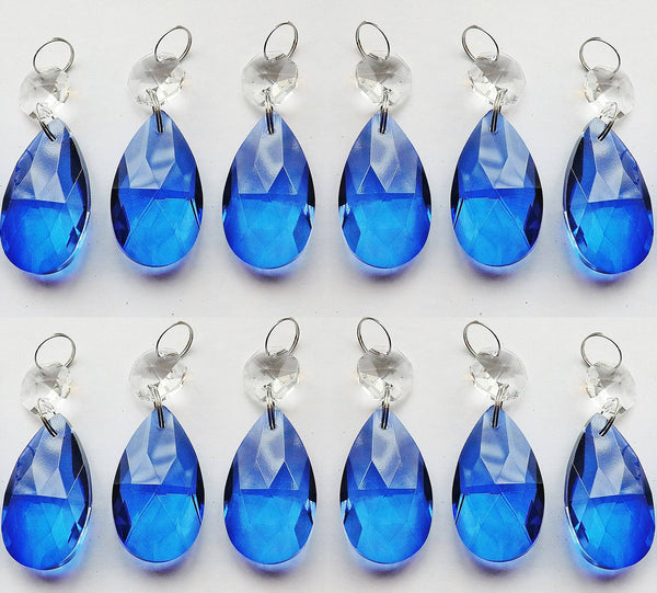 "1 Blue Cut Glass Oval 37 mm 1.5"" Chandelier Crystals Drops Beads Droplets Light Lamp Parts"