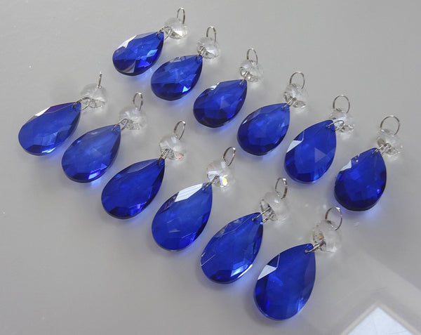 "12 Blue Oval 37 mm 1.5"" Chandelier Crystals Drops Beads Droplets Garden Window Decorations 7"