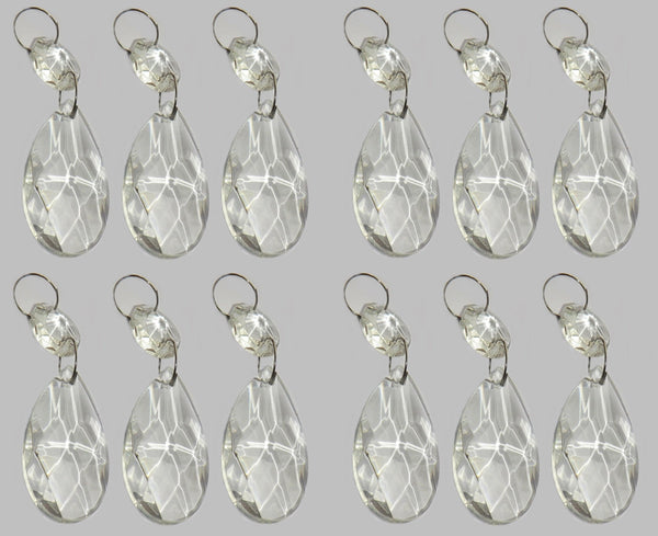 12 Clear Oval 37mm Chandelier Crystals Drops Beads Droplets Garden Window Decorations 9