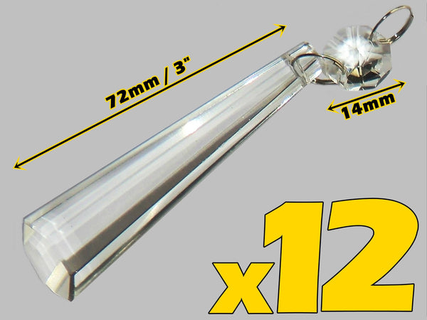 "12 Clear Icicles 72mm 3"" Chandelier Crystals Drops Beads Droplets Garden Window Decorations 2"