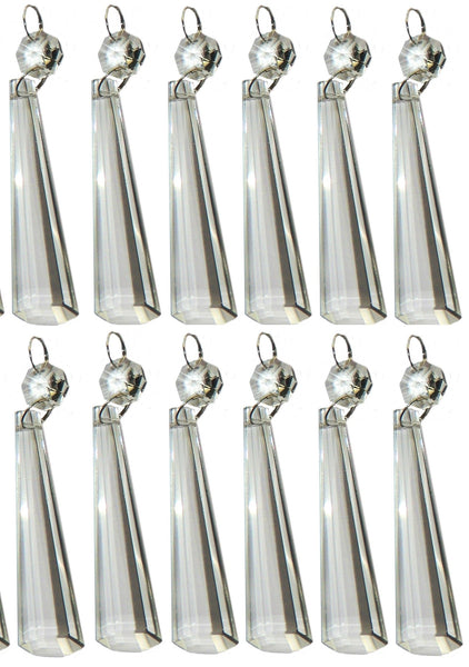 "12 Clear Icicles 72mm 3"" Chandelier Crystals Drops Beads Droplets Garden Window Decorations 4"