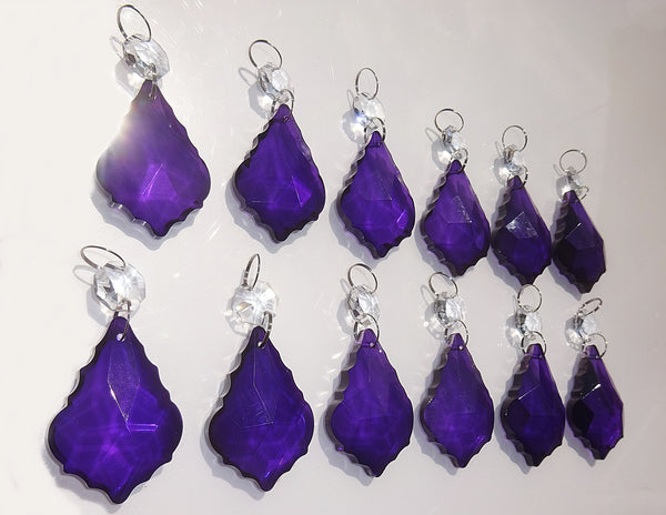 "12 Purple Leaf 50 mm 2"" Chandelier Crystals Drops Beads Droplets Christmas Wedding Decorations 9"