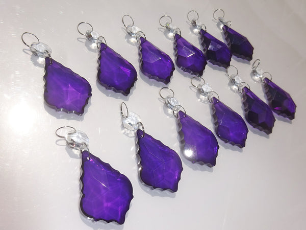 "Purple Cut Glass Leaf 50 mm 2"" Chandelier Crystals Drops Beads Droplets Light Lamp Parts 12"