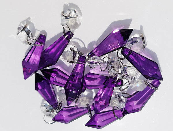 "12 Purple Torpedo 37 mm 1.5"" Chandelier Crystals Drops Beads Droplets Christmas Decorations 10"