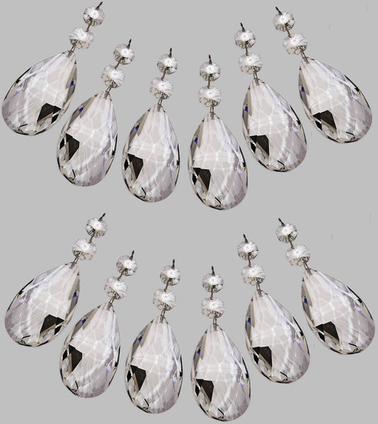 Clear XL 75 mm / 3 Inch Oval Almond Chandelier Crystals Cut Glass Facet Prisms 10