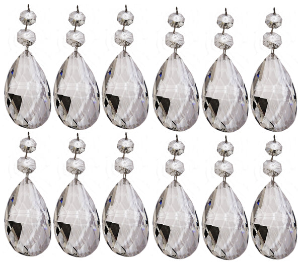 Clear XL 75 mm / 3 Inch Oval Almond Chandelier Crystals Cut Glass Facet Prisms 11