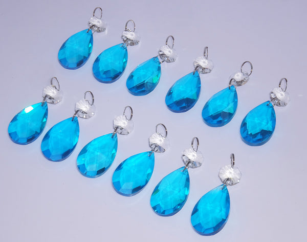 "12 Teal Blue Oval 37 mm 1.5"" Chandelier Crystals Drops Beads Droplets Christmas Decorations 9"