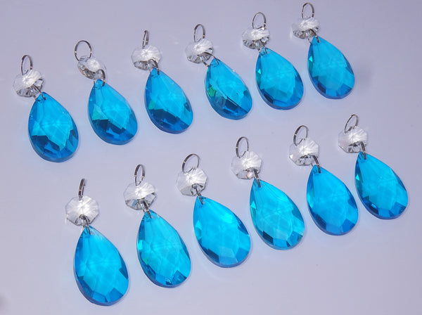 "12 Teal Blue Oval 37 mm 1.5"" Chandelier Crystals Drops Beads Droplets Christmas Decorations 6"