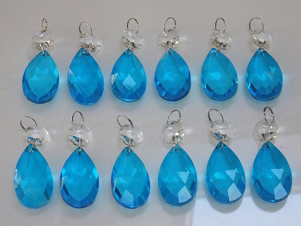"12 Teal Blue Oval 37 mm 1.5"" Chandelier Crystals Drops Beads Droplets Christmas Decorations 12"