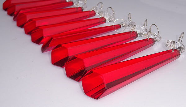 "12 Red Icicles 72 mm 3"" Chandelier Crystals Drops Beads Droplets Christmas Wedding Decorations 8"