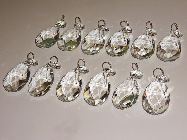 "12 Clear Oval 50mm 2"" Chandelier Crystals Drops Beads Droplets Garden Patio Decorations"