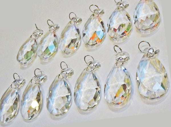 Clear Cut Glass Oval 2 inch Chandelier Crystals Drops Almond Droplets Prisms Transparent 7