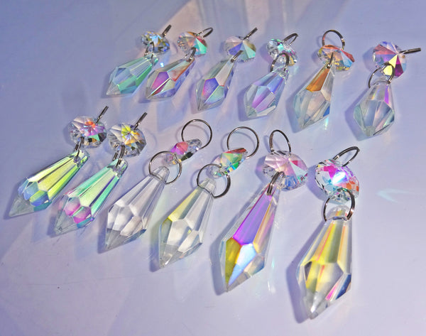 "12 Aurora Borealis Torpedo 37 mm 1.5"" Chandelier Crystals Drops Beads Droplets Christmas Wedding Decorations 7"