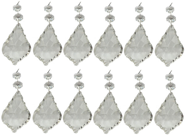 "Clear XL 3"" Leaf Chandelier Crystals Cut Glass Drops Prisms Beads Droplets Pendalogues 12"
