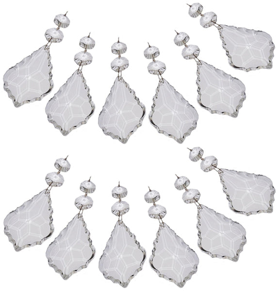 "Clear XL 3"" Leaf Chandelier Crystals Cut Glass Drops Prisms Beads Droplets Pendalogues 11"