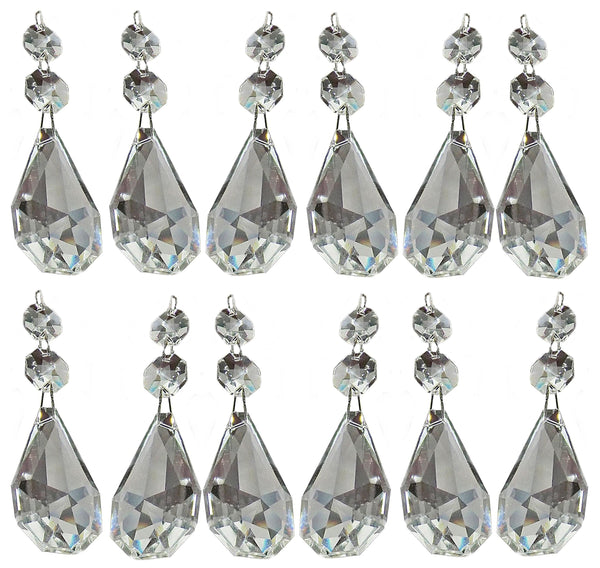 "Clear XL Square Oval 62 mm / 2.5"" Chandelier Crystals Cut Glass Drops Facet Prisms Chain Droplets 5"