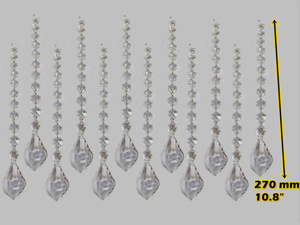 Clear Glass Leaf 270 mm / 10.8 inch Chandelier Chain of Drops Crystals Beads Garland Pendant Decoration 10