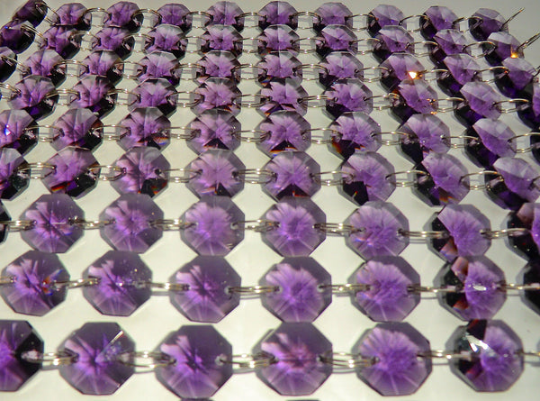 14mm Octagon Purple Chandelier Drops Cut Glass Crystals Garlands Beads Droplets 1