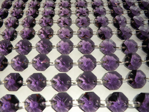 14mm Octagon Purple Chandelier Drops Cut Glass Crystals Garlands Beads Droplets 2