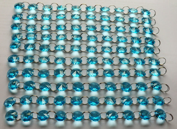14mm Octagon Aqua Teal Blue Turquoise Chandelier Drops Cut Glass Crystals Garlands Beads Droplets 9