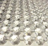 100 x 18mm Octagonal Chandelier Drops Crystals Beads 2.25m Garland 7