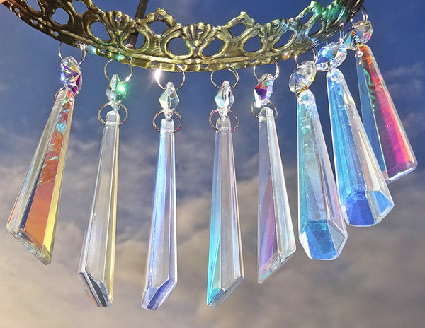 "Aurora Borealis 72 mm 3"" Icicle Chandelier Cut Glass Crystals Drops Beads AB Droplets Lamp Parts 5"