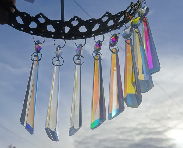 "Aurora Borealis 72 mm 3"" Icicle Chandelier Cut Glass Crystals Drops Beads AB Droplets Lamp Parts 7"