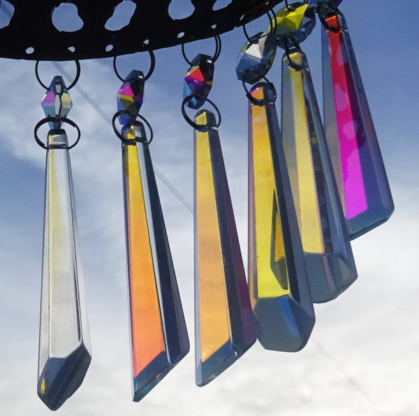 "Aurora Borealis 72 mm 3"" Icicle Chandelier Cut Glass Crystals Drops Beads AB Droplets Lamp Parts 2"