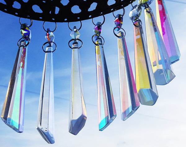 "Aurora Borealis 72 mm 3"" Icicle Chandelier Cut Glass Crystals Drops Beads AB Droplets Lamp Parts 8"