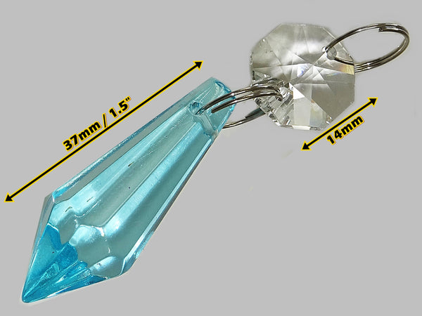 "Teal Blue Cut Glass Torpedo 37 mm 1.5"" Chandelier Crystals Drops Beads Droplets Light Parts 1"