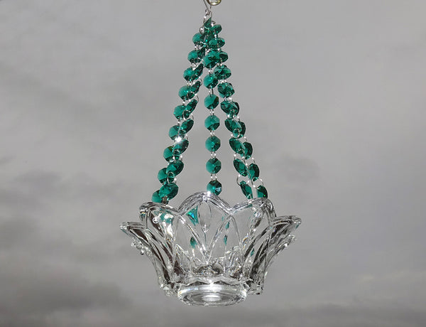 Peacock Green Glass Chandelier Tea Light Candle Holder Wedding Event or Garden Feature 1